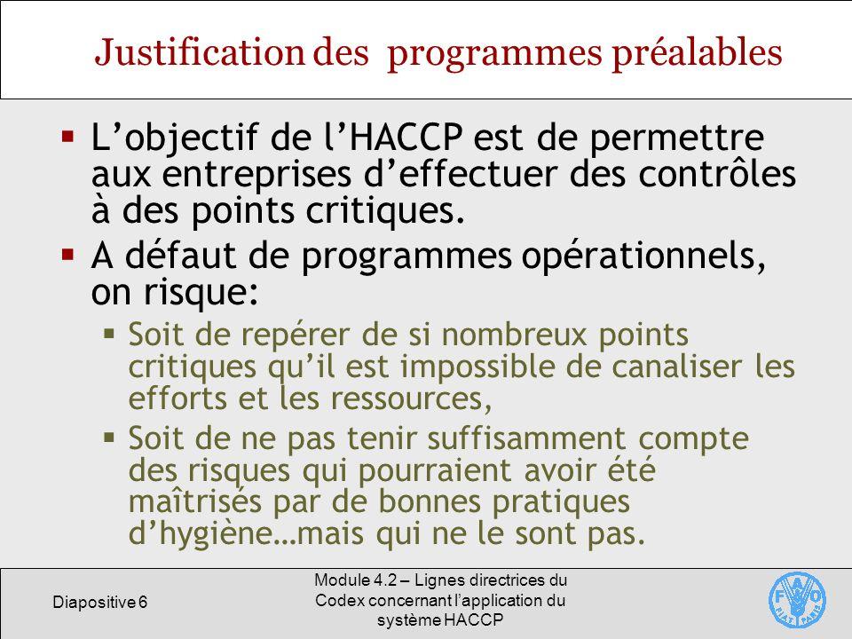 Justification des programmes préalables