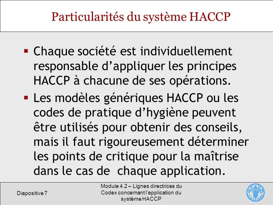 Particularités du système HACCP