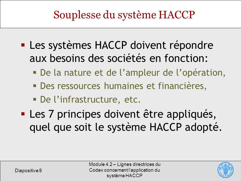 Souplesse du système HACCP