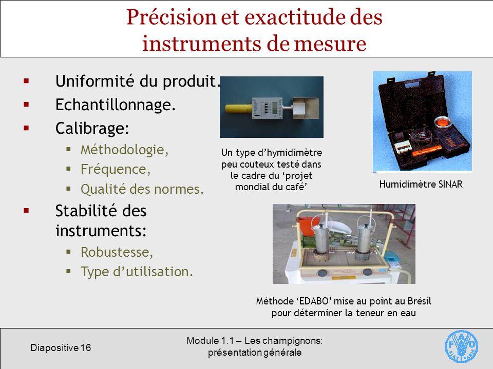 Précision et exactitude des instruments de mesure