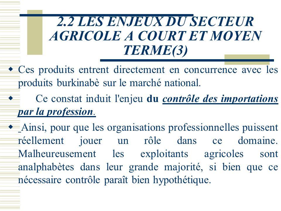 2.2 LES ENJEUX DU SECTEUR AGRICOLE A COURT ET MOYEN TERME(3)