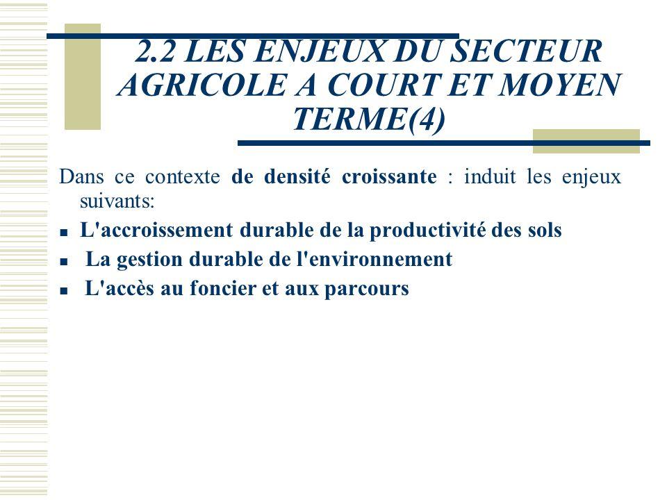 2.2 LES ENJEUX DU SECTEUR AGRICOLE A COURT ET MOYEN TERME(4)
