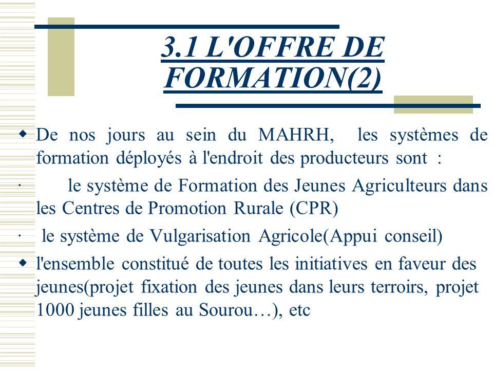 3.1 L OFFRE DE FORMATION(2) De nos jours au sein du MAHRH, les systèmes de formation déployés à l endroit des producteurs sont :