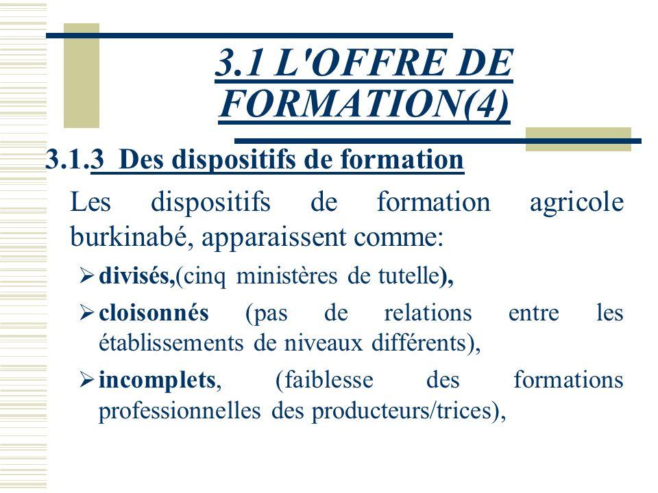 3.1 L OFFRE DE FORMATION(4) 3.1.3 Des dispositifs de formation
