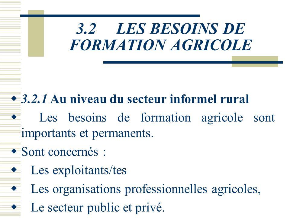 3.2 LES BESOINS DE FORMATION AGRICOLE