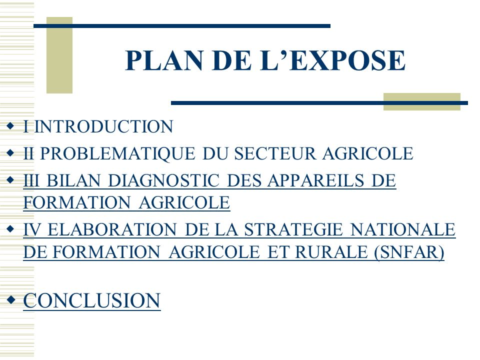 PLAN DE L'EXPOSE CONCLUSION I INTRODUCTION