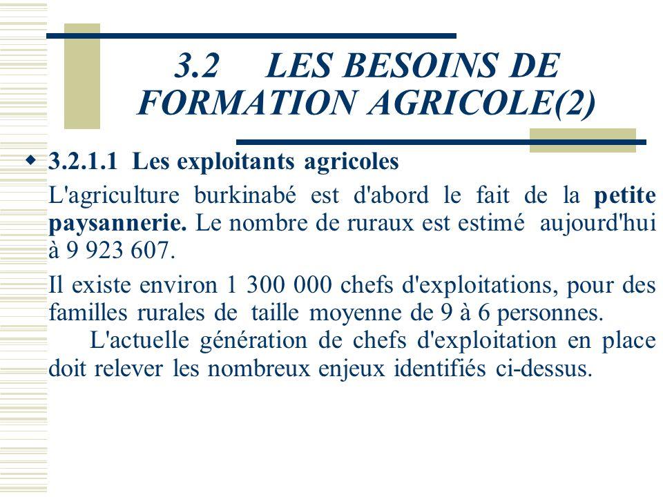3.2 LES BESOINS DE FORMATION AGRICOLE(2)
