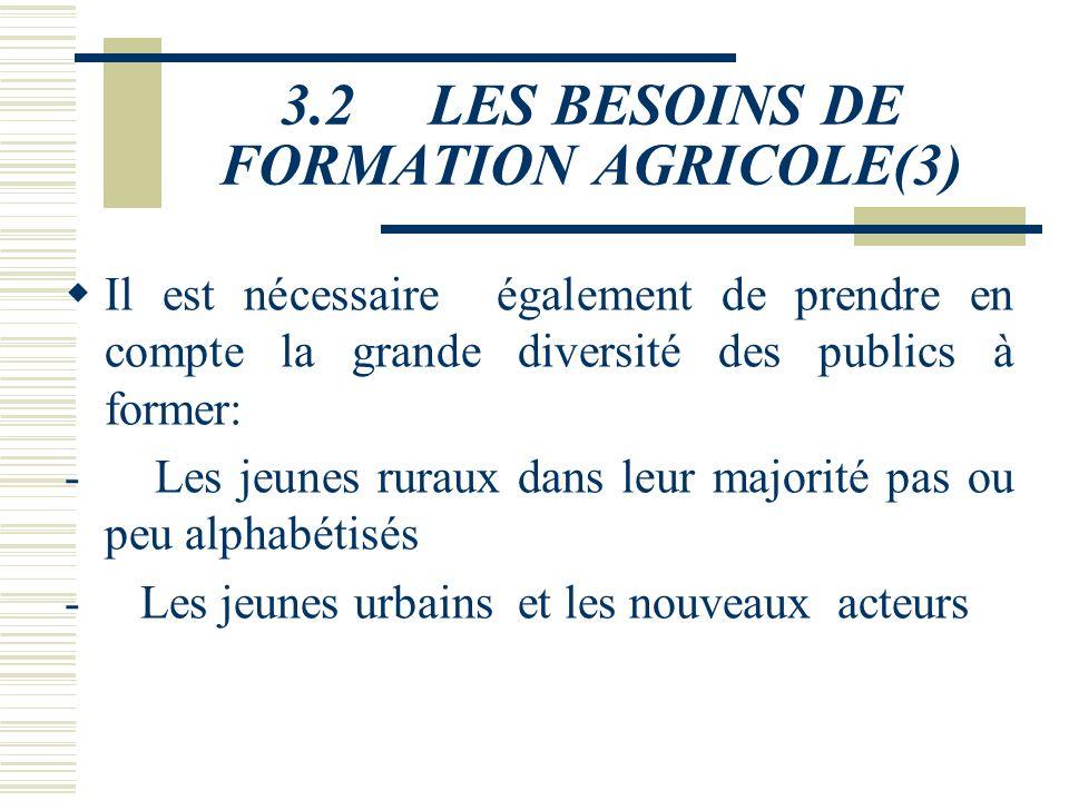 3.2 LES BESOINS DE FORMATION AGRICOLE(3)