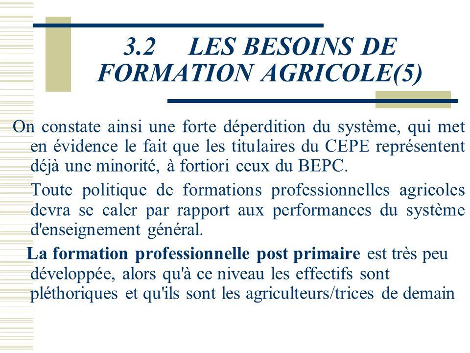 3.2 LES BESOINS DE FORMATION AGRICOLE(5)