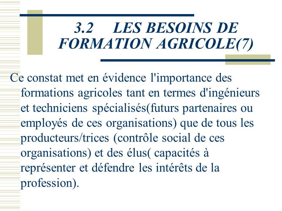 3.2 LES BESOINS DE FORMATION AGRICOLE(7)