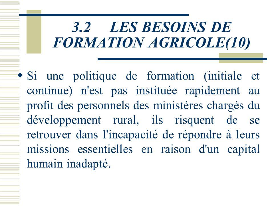 3.2 LES BESOINS DE FORMATION AGRICOLE(10)