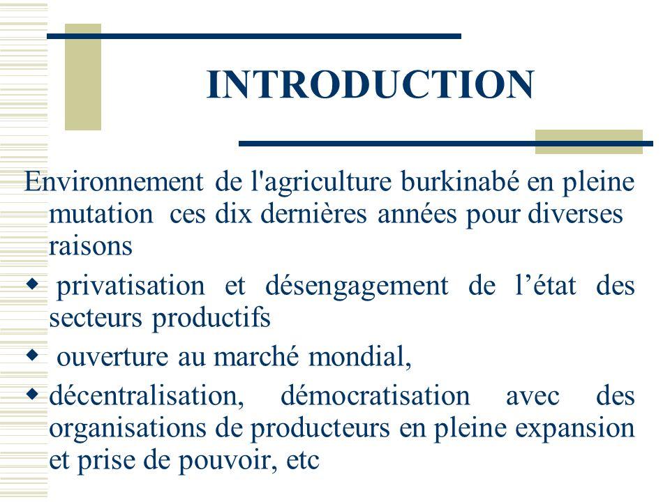 INTRODUCTION Environnement de l agriculture burkinabé en pleine mutation ces dix dernières années pour diverses raisons.