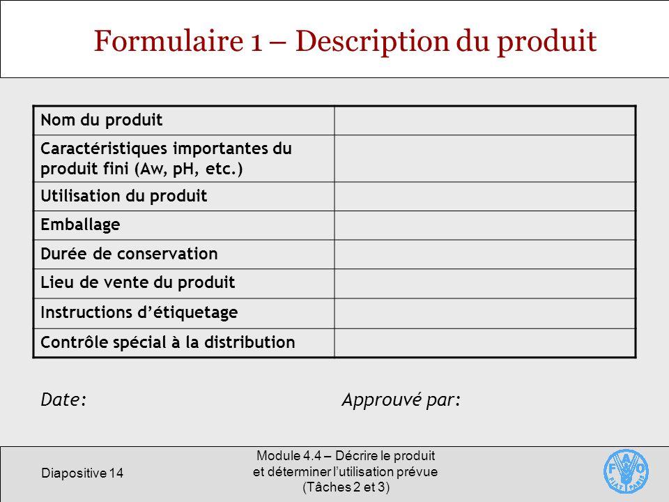 Formulaire 1 – Description du produit