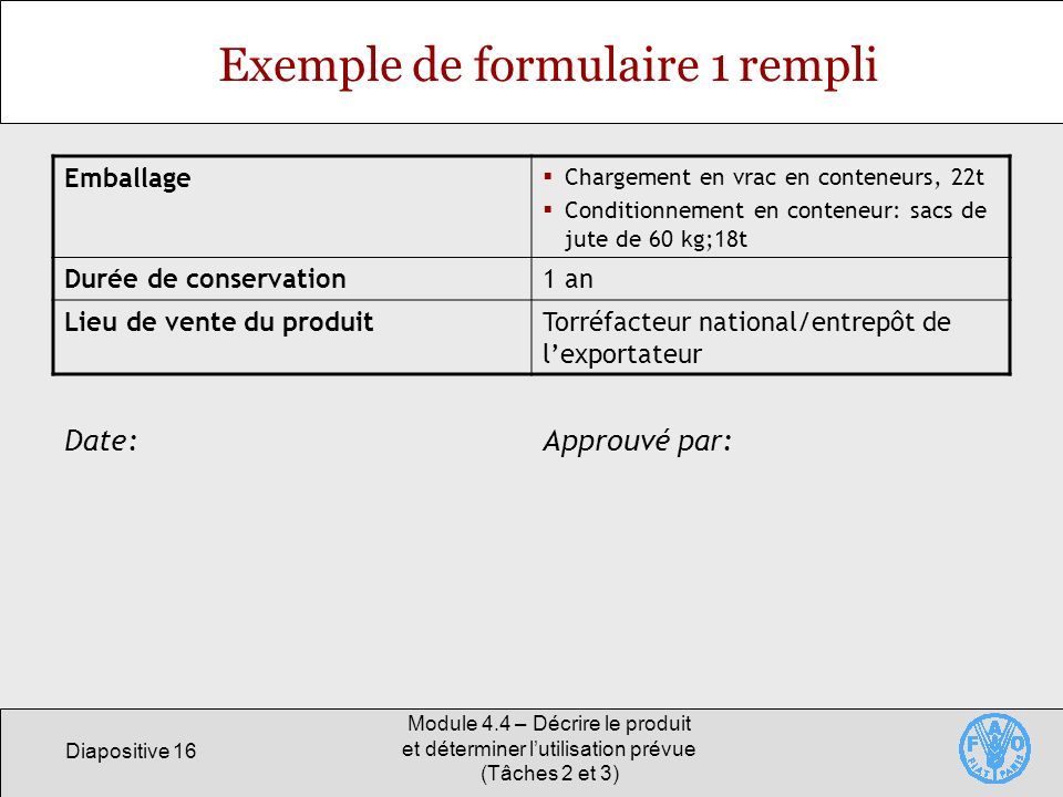 Exemple de formulaire 1 rempli