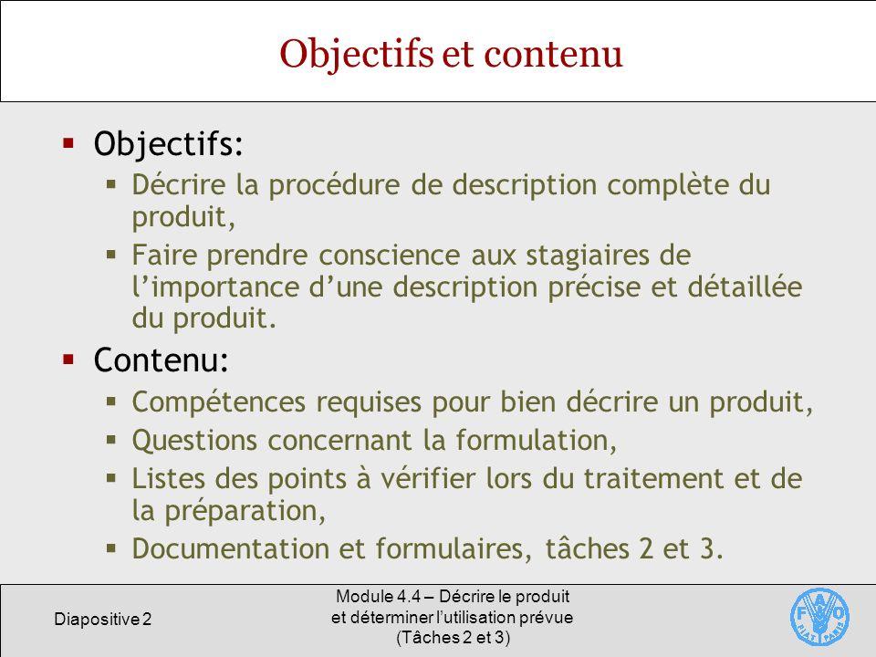 Objectifs et contenu Objectifs: Contenu: