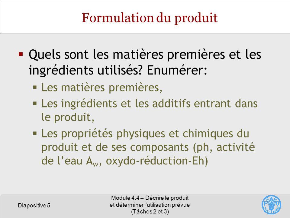 Formulation du produit