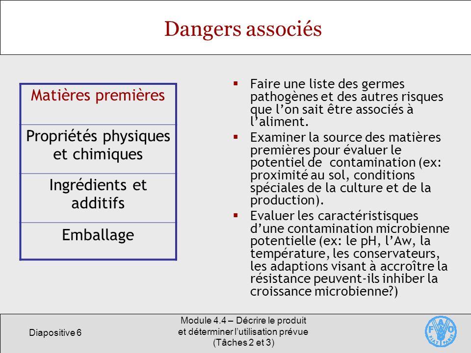 Dangers associés Matières premières Propriétés physiques et chimiques