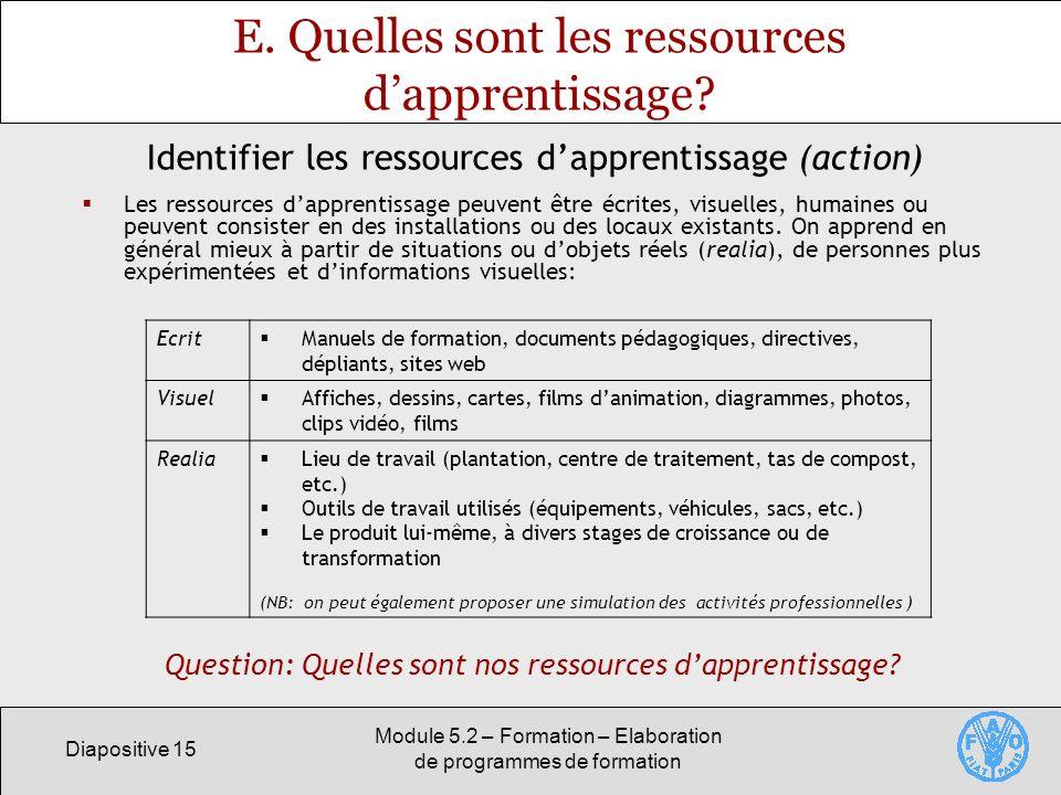 E. Quelles sont les ressources d'apprentissage