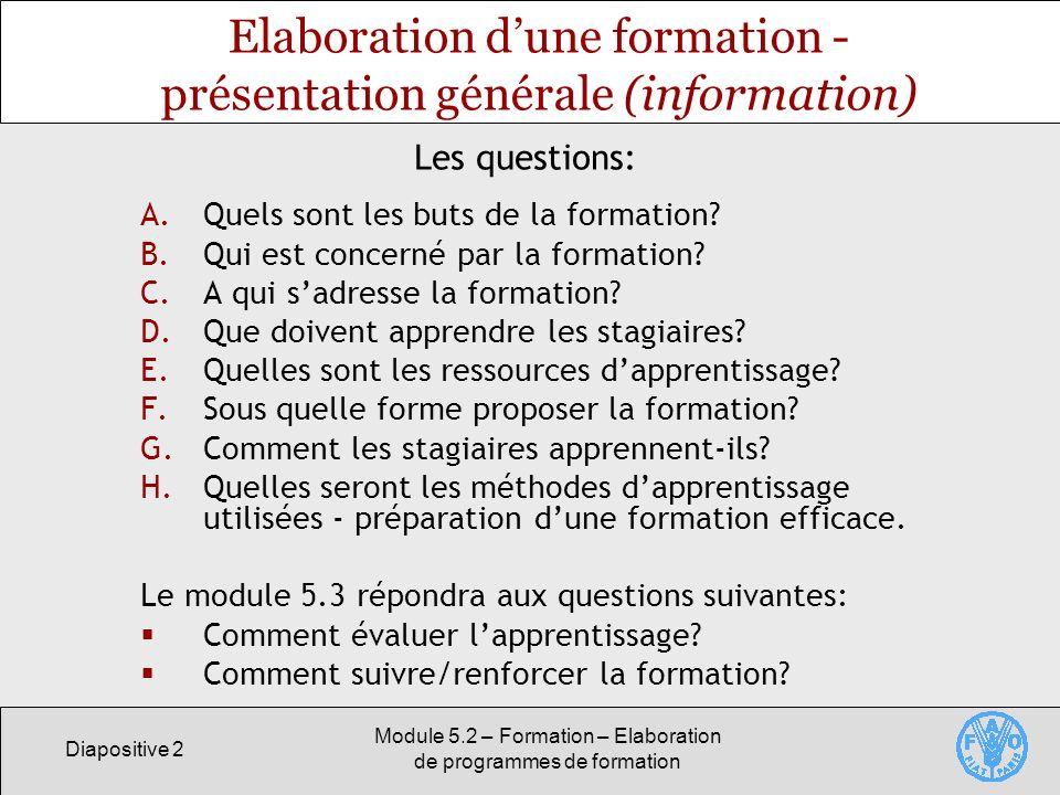 Elaboration d'une formation - présentation générale (information)