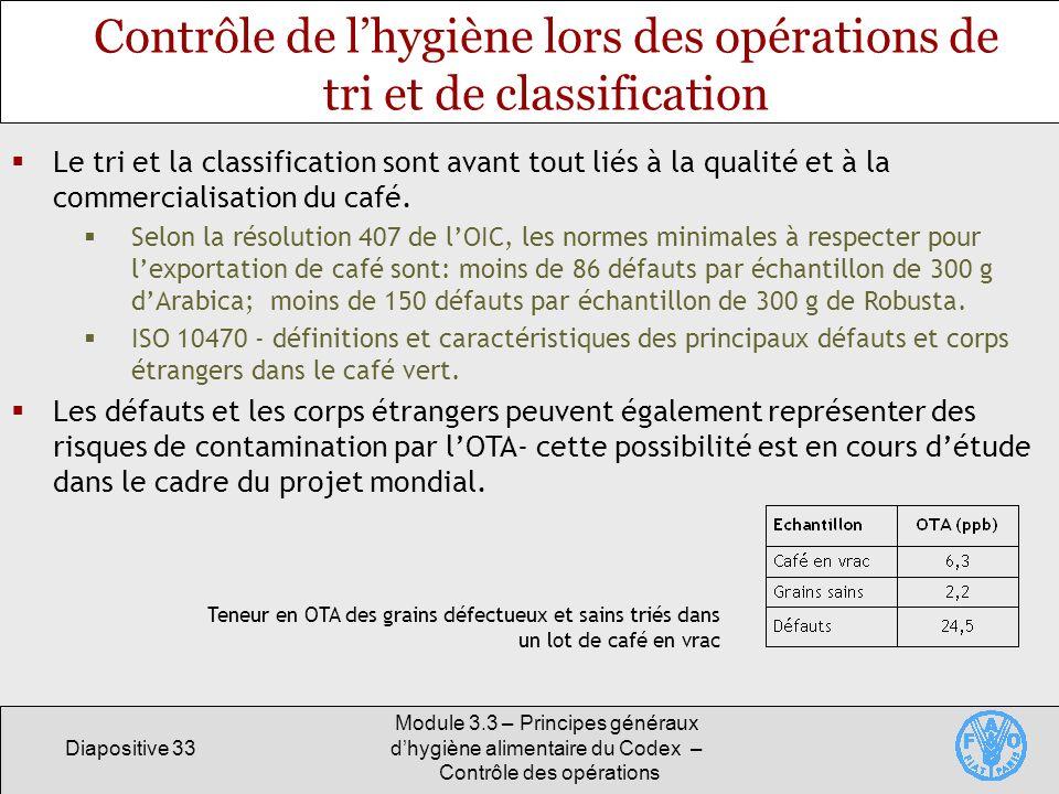 Contrôle de l'hygiène lors des opérations de tri et de classification