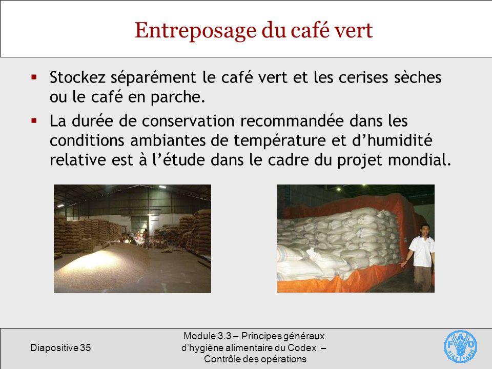 Entreposage du café vert