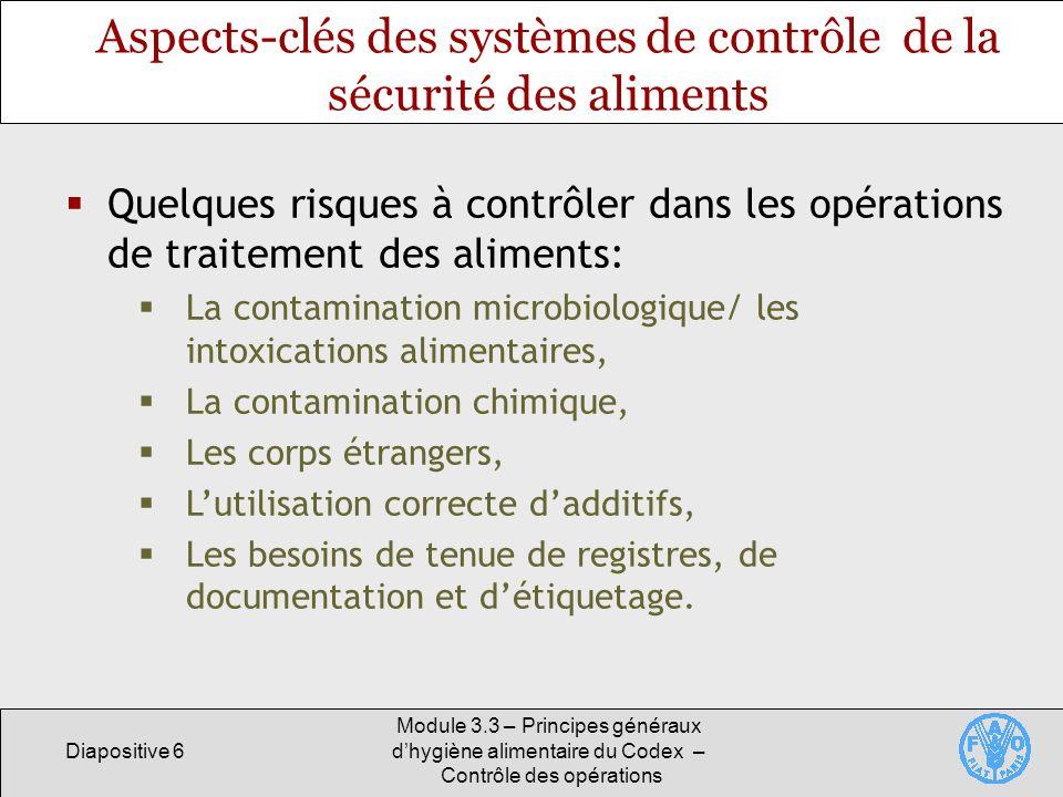 Aspects-clés des systèmes de contrôle de la sécurité des aliments