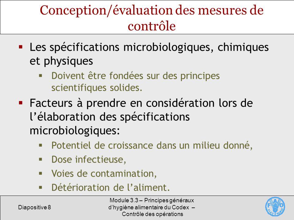 Conception/évaluation des mesures de contrôle