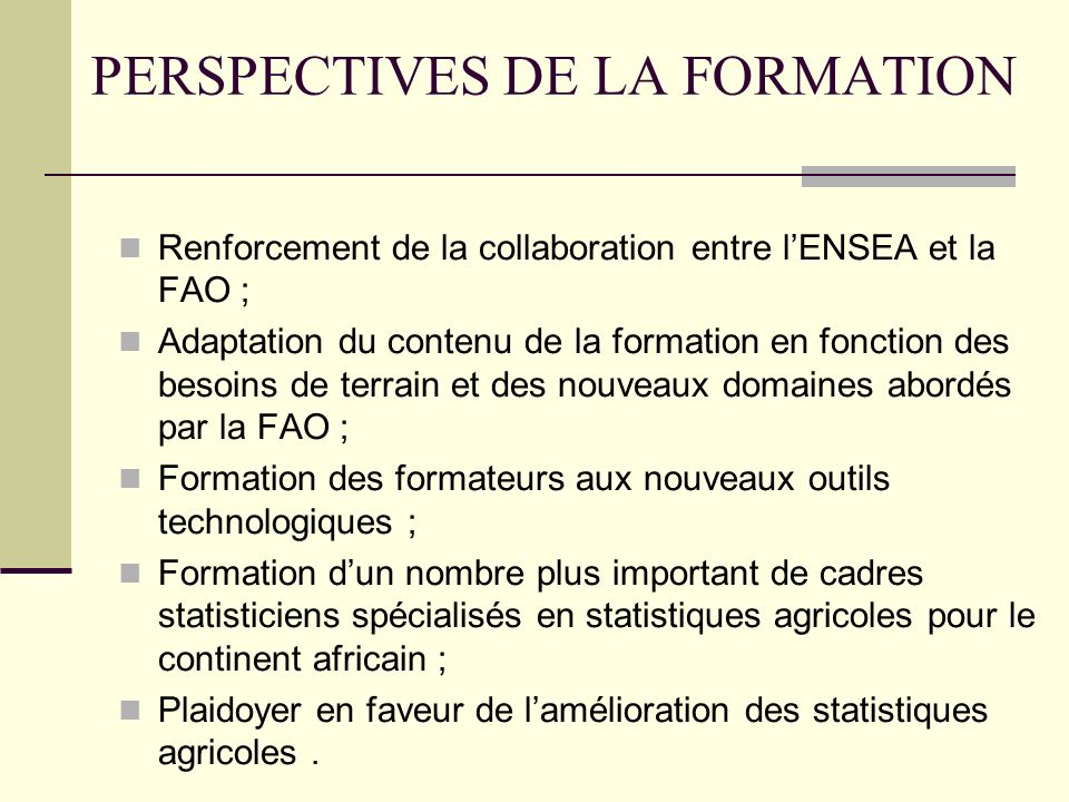 PERSPECTIVES DE LA FORMATION
