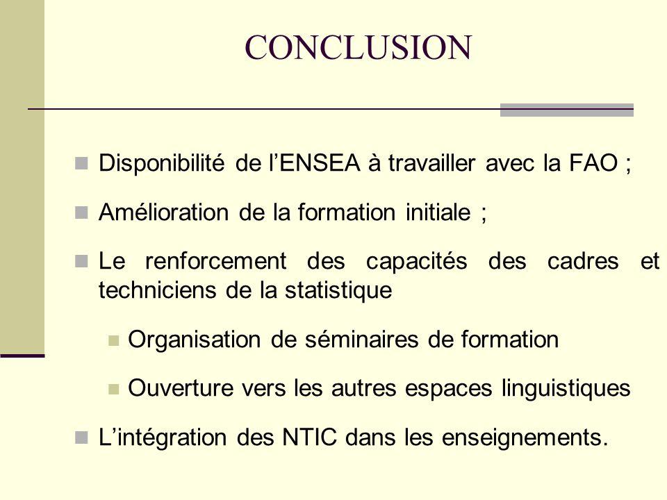 CONCLUSION Disponibilité de l'ENSEA à travailler avec la FAO ;