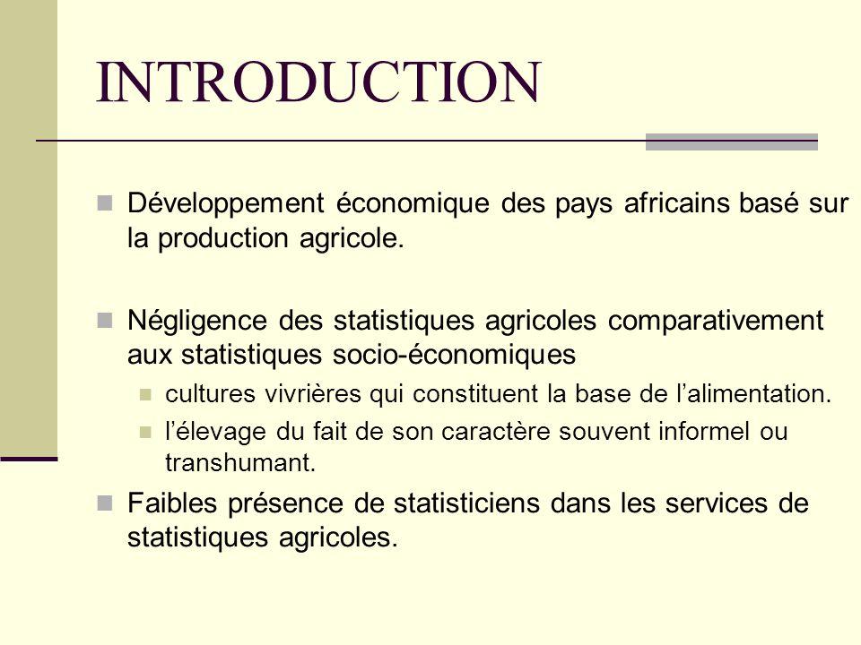 INTRODUCTION Développement économique des pays africains basé sur la production agricole.