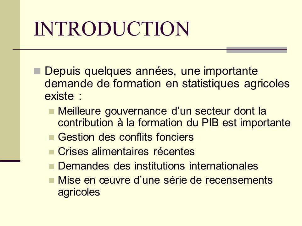 INTRODUCTION Depuis quelques années, une importante demande de formation en statistiques agricoles existe :