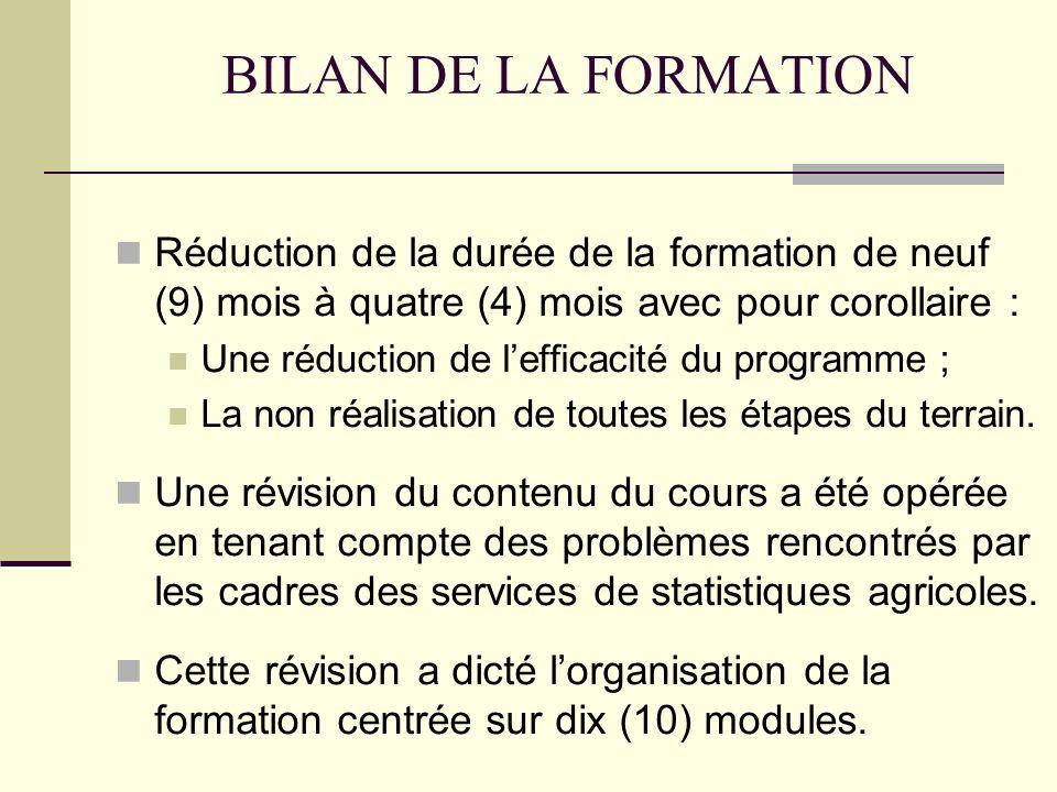 BILAN DE LA FORMATION Réduction de la durée de la formation de neuf (9) mois à quatre (4) mois avec pour corollaire :