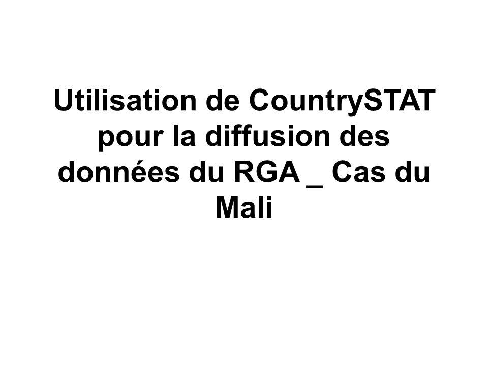 Utilisation de CountrySTAT pour la diffusion des données du RGA _ Cas du Mali