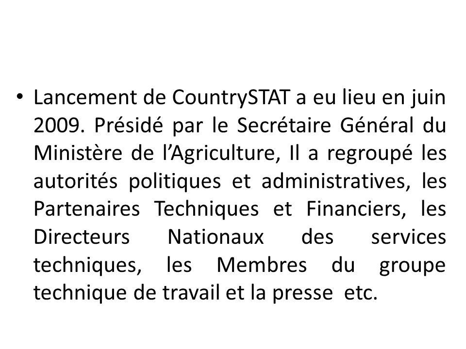 Lancement de CountrySTAT a eu lieu en juin 2009