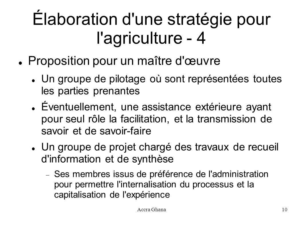 Élaboration d une stratégie pour l agriculture - 4