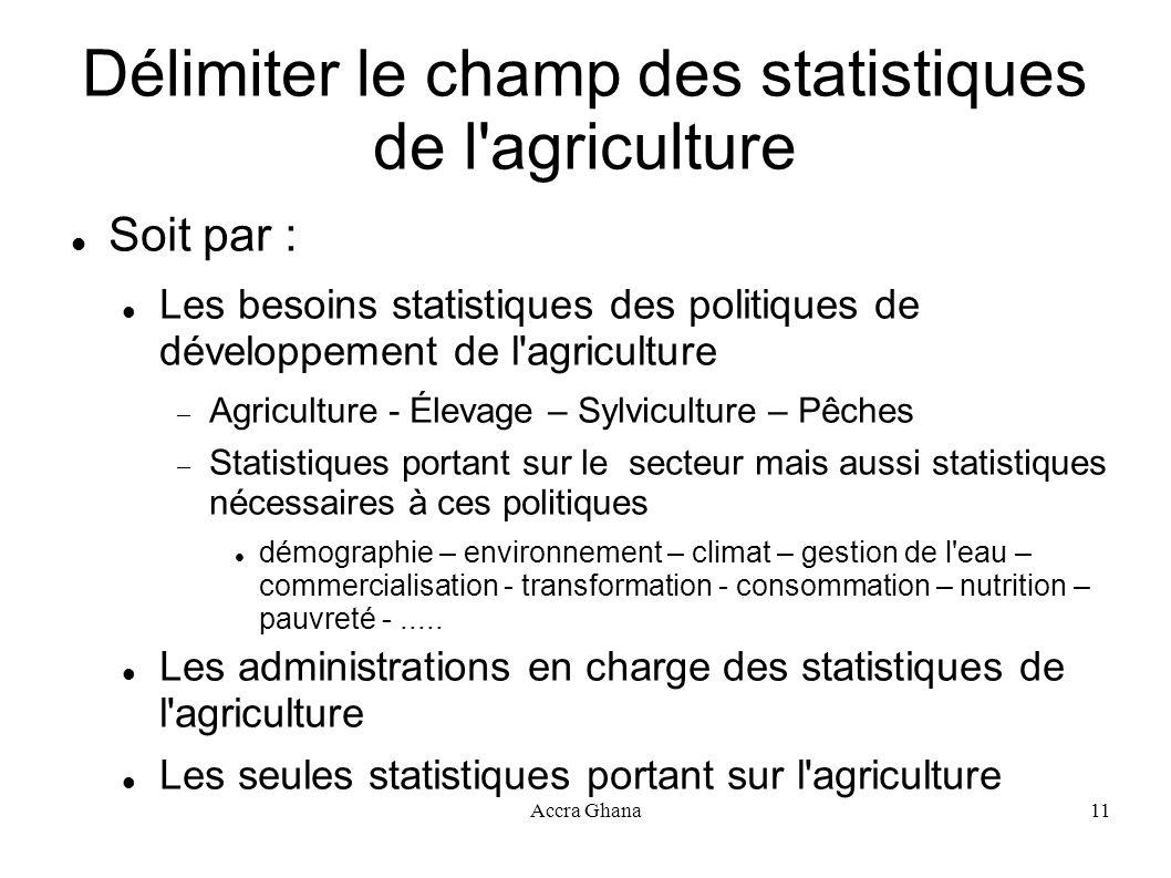 Délimiter le champ des statistiques de l agriculture