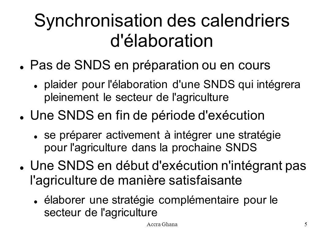 Synchronisation des calendriers d élaboration