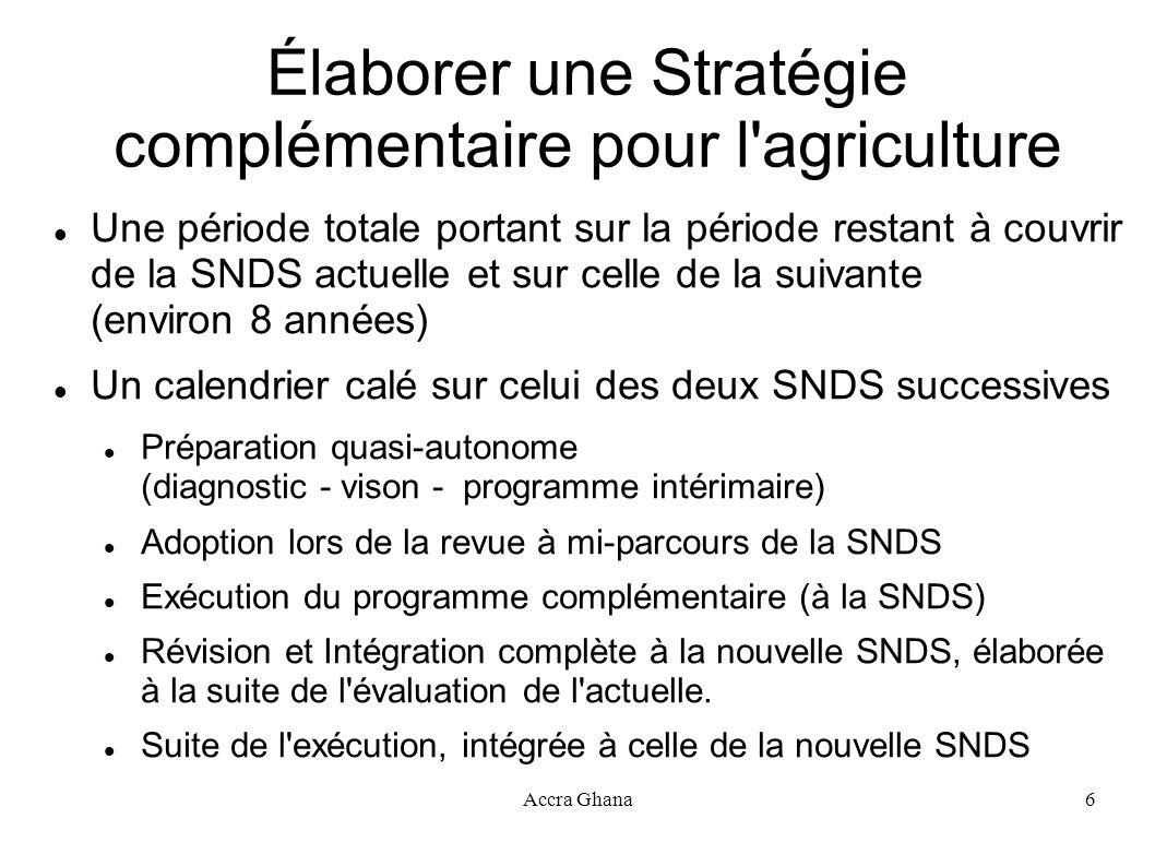 Élaborer une Stratégie complémentaire pour l agriculture