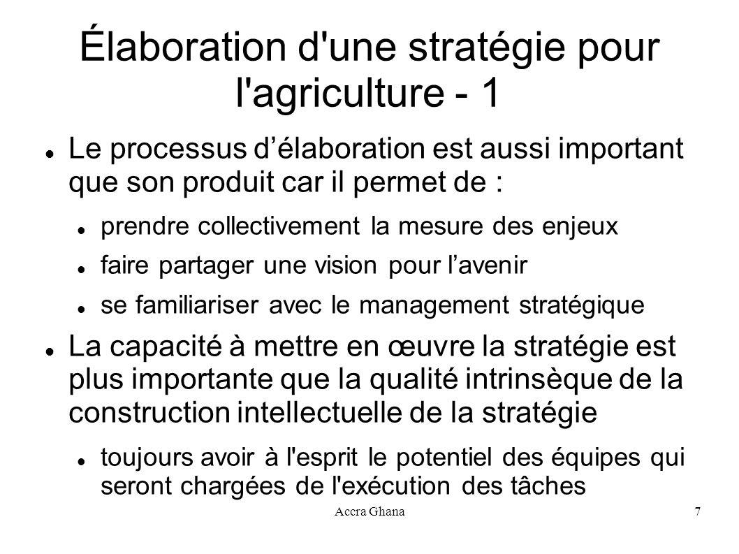 Élaboration d une stratégie pour l agriculture - 1