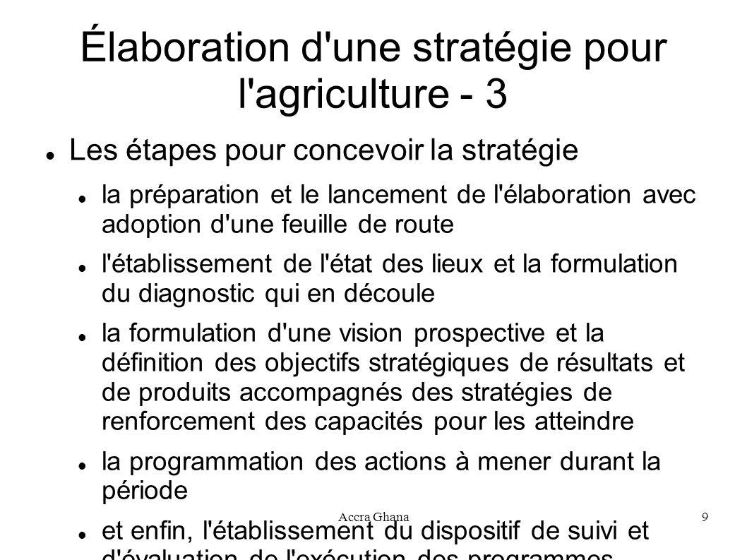 Élaboration d une stratégie pour l agriculture - 3
