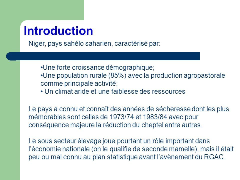 Introduction Niger, pays sahélo saharien, caractérisé par:
