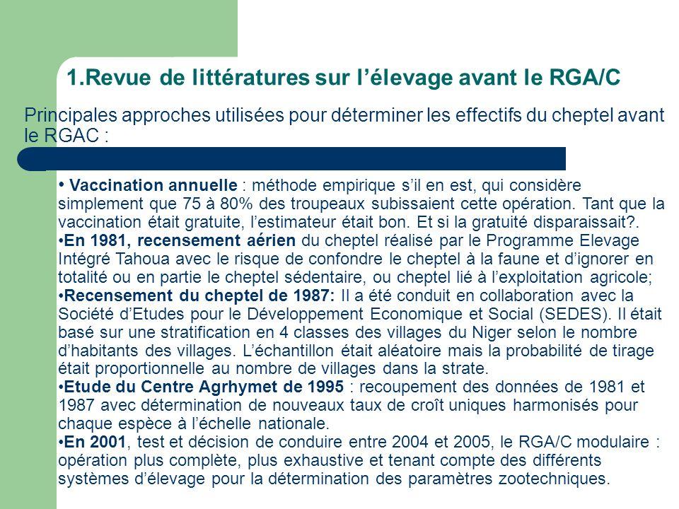 1.Revue de littératures sur l'élevage avant le RGA/C