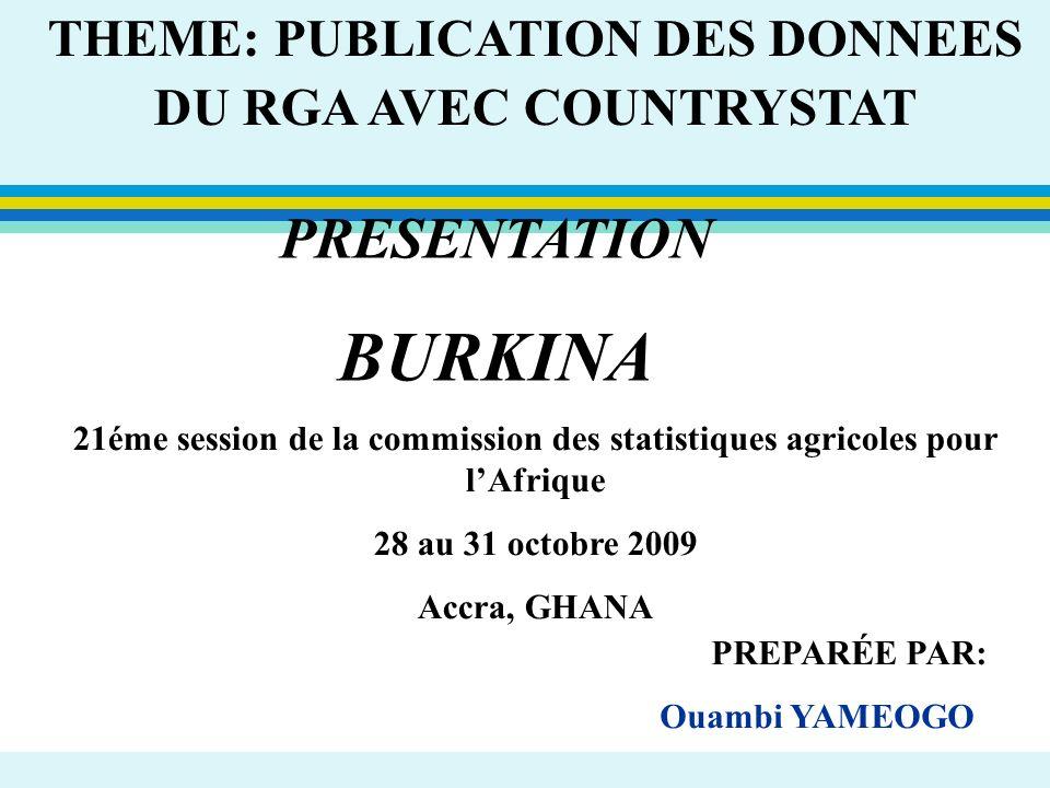 THEME: PUBLICATION DES DONNEES DU RGA AVEC COUNTRYSTAT