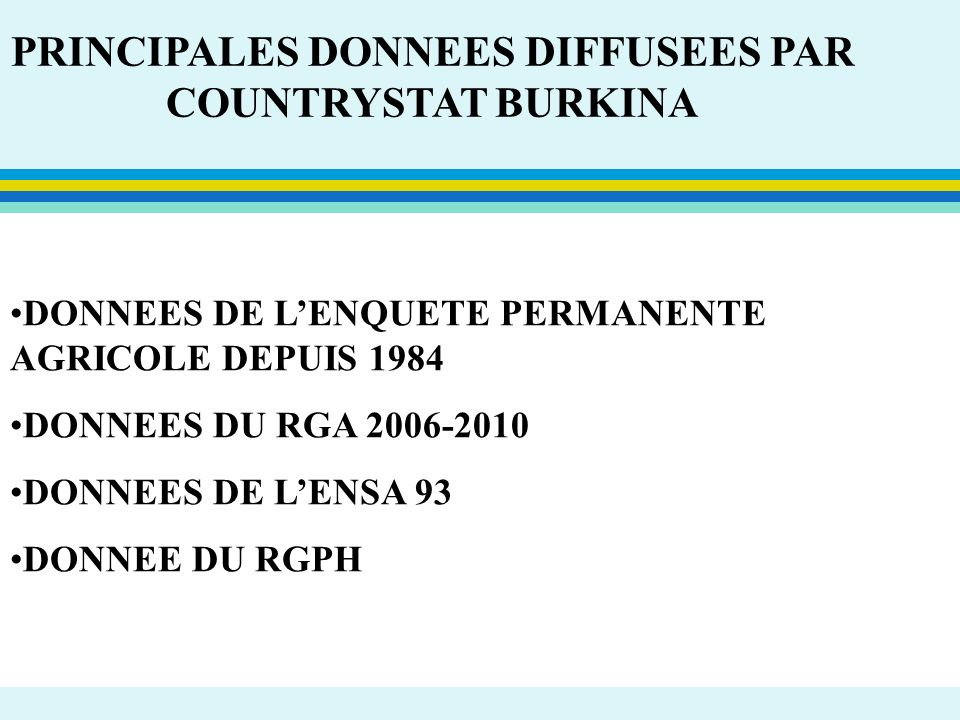 PRINCIPALES DONNEES DIFFUSEES PAR COUNTRYSTAT BURKINA