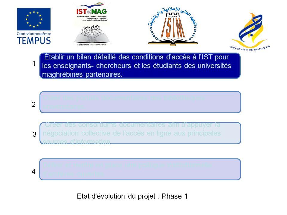 Établir un bilan détaillé des conditions d'accès à l'IST pour les enseignants- chercheurs et les étudiants des universités maghrébines partenaires.