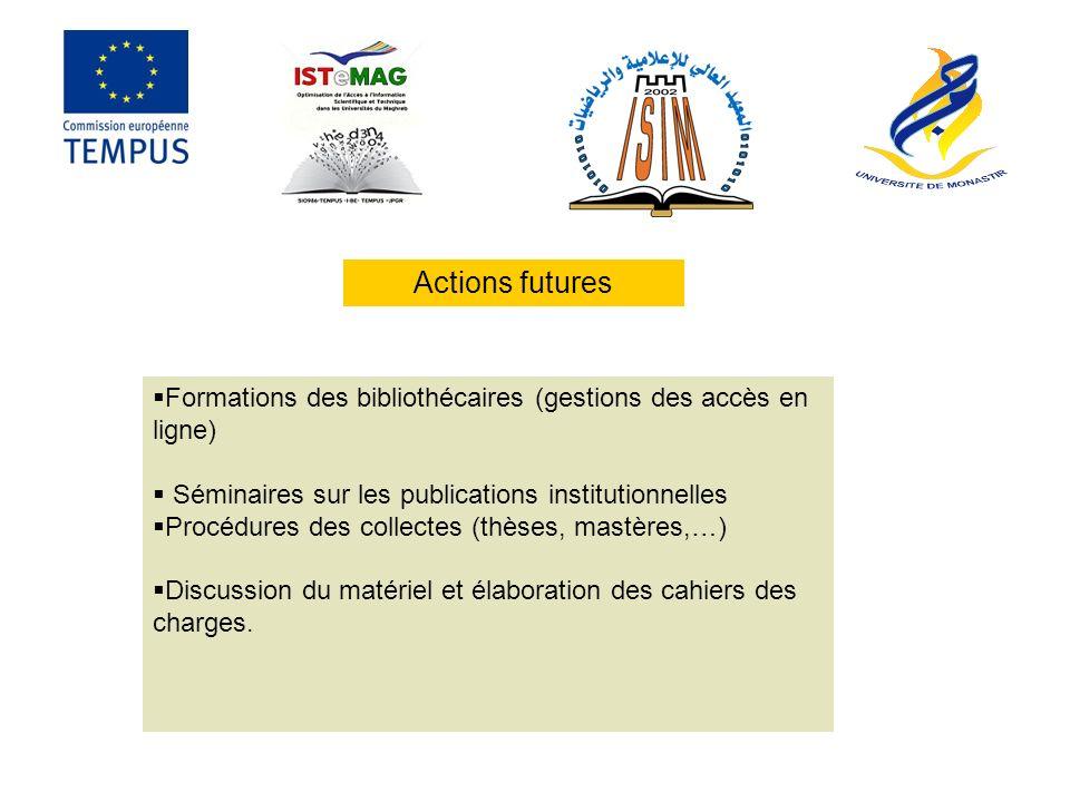 Actions futures Formations des bibliothécaires (gestions des accès en ligne) Séminaires sur les publications institutionnelles.