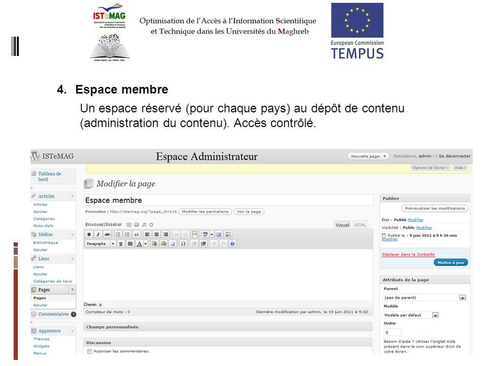 Espace membre Un espace réservé (pour chaque pays) au dépôt de contenu (administration du contenu).