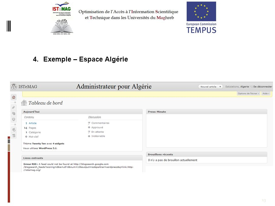 Exemple – Espace Algérie