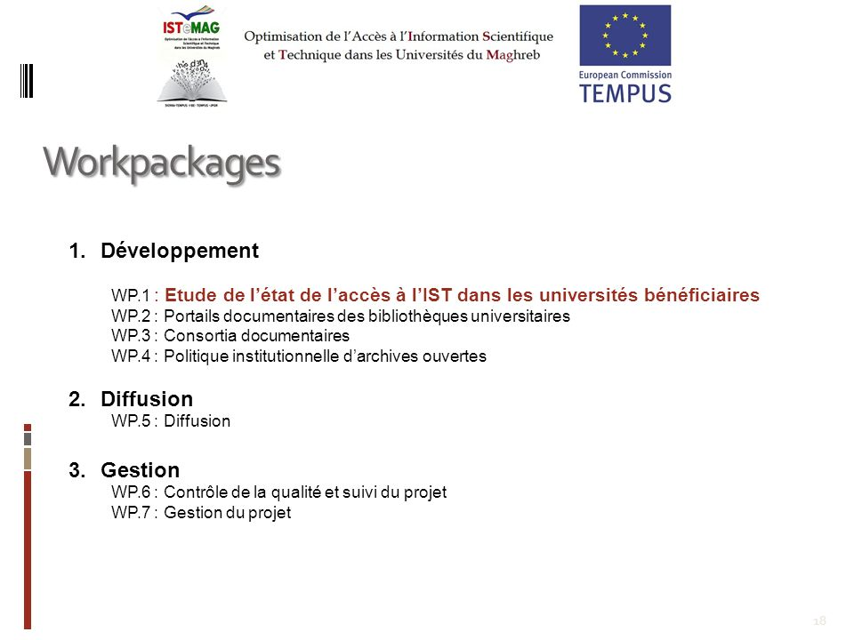 Workpackages Développement Diffusion Gestion