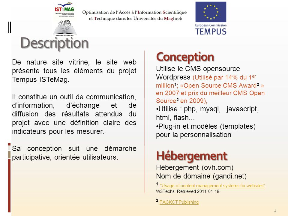 Description Conception Hébergement